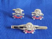 QUEEN'S ROYAL  LANCERS  ( QRL ) CUFF LINK AND TIE GRIP / CLIP GIFT SET